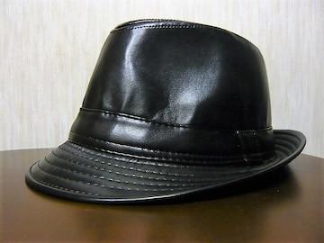 ラスト新品 ハット 合皮 帽子 テンガロン ブラック 黒合革