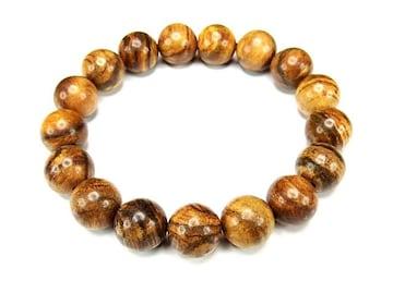 癒しの香り天然フラワー縞入り楠木約12mm数珠ブレスレット