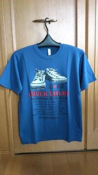 激安80%オフ限定、コンバース、スニーカー、Tシャツ(美品、紺、M)