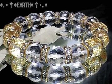 天然石★12ミリ128面カット高級天然水晶金色ロンデル美麗数珠