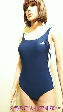 極美品☆adidas☆160☆ネイビー3本LINE競泳水着3963☆3点で即落