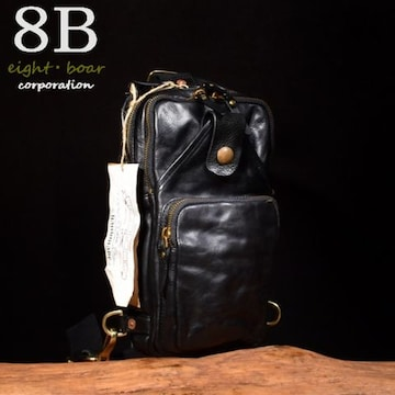 ◆Rock Lether 牛本革 強シュリンク ボディバッグ◆黒b44
