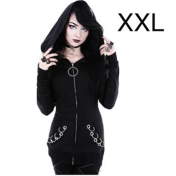 新品☆飾りリングいっぱい♪裏起毛パーカー ブラック XXL