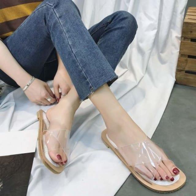 クリアデザイン ミュール フラットシューズ ペタンコ 春夏 レディース 履きやすい < 女性ファッションの