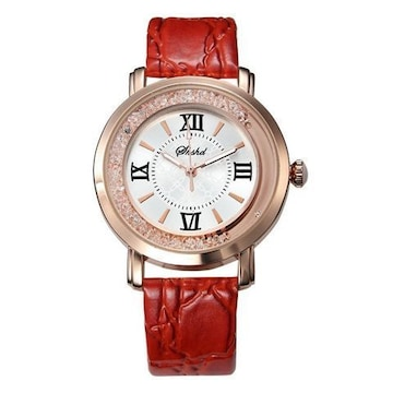 残1個590円★高級感漂うおしゃれデザイン時計 赤
