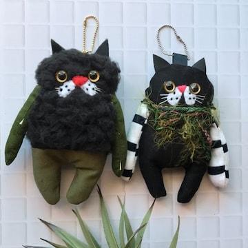 黒猫chan2匹セットチャームストラップ★handmade