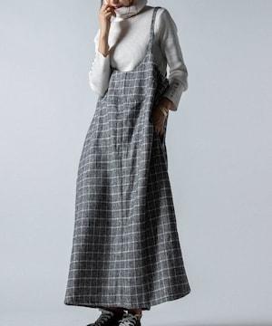 *antiqua*格子 wool混ジャンパースカート 未使用