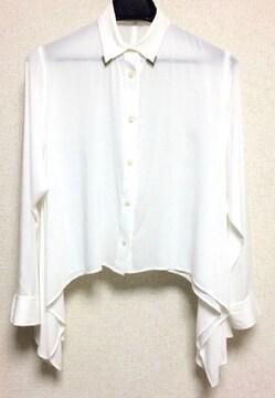定価5985円 moussy マウジー 襟シルバー 金具付き 変形 長袖シャツ 白