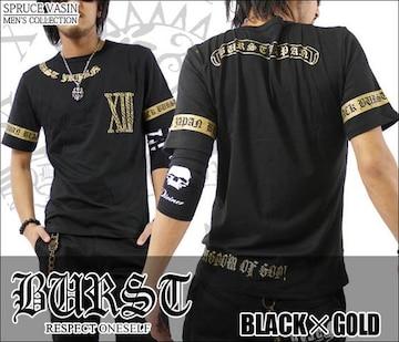 メール便送料無料【MAD BURST JAPAN】70562Tシャツ黒金L