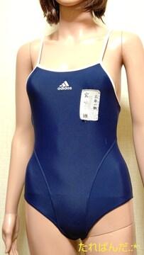 美品☆adidas☆光沢ネイビーパイピング競泳水着5064☆3点で即落