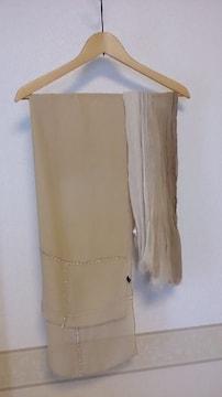 絹100%*綿麻  ベージュ系ストール2枚セット