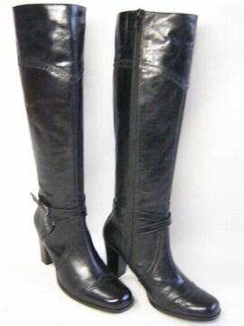 サヴァサヴァcavacavaジッパー付ロング ブーツ10751BL22.5cm