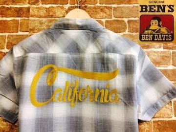 表記M/新品!ベンデイビス カリフォルニア 刺繍入り シャドー チェックシャツ オンブレ