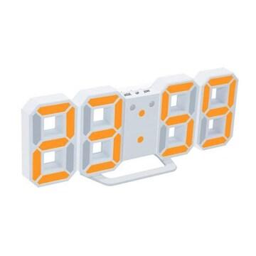 LEDデジタル目覚まし時計(ホワイト本体+オレンジライト)