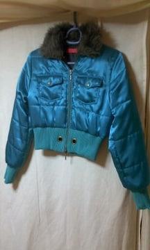 ★ダウンタイプジャンパージャケットコート ファー ブルー ●
