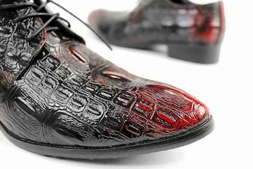 送料無料 クロコ トンガリ ローファー■メンズ シューズ オラオラ ホスト 靴 103 赤-26.5