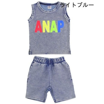 SALE!新品ANAPKIDS☆110 ロゴ デニム セットアップ タンクトップ&パンツ アナップ