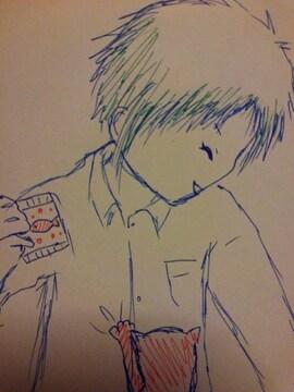 三重県の男の子�Aオリジナル自作イラスト原画