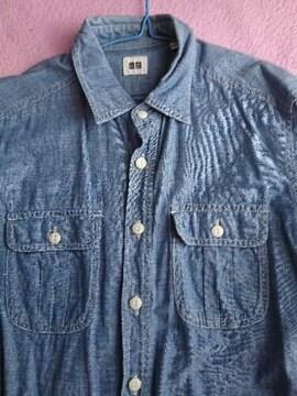 ユニクロ デニムシャツ 七分袖 美品
