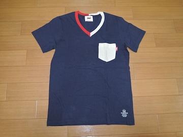 TMTカットソーS紺系ラフィー天竺15SSトリムV字Tシャツ