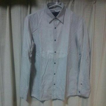 オーレットOURET切り替えデザイン長袖シャツ日本製チェックストライプオフホワイト個性的
