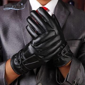 Men's 手袋 防寒&保温 グローブ レザー ビジネス  黒色