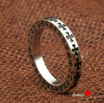 送料無料15号クロムシルバークロス十字架フープリング指輪