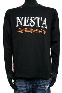 新品ネスタ201NB1102バックスクウェアロゴ刺繍ロンT 黒 M