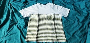 爽やか白×カーキグリーンボーダー胸ポケット綿半袖丸首Tシャツ