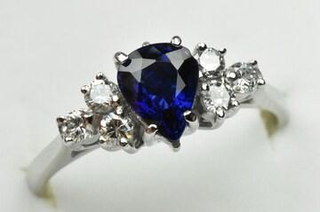 K18WG サファイア 0.85ct ダイヤモンドリング 10号 指輪