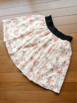 ハニーズ オフホワイト 薔薇柄 チュールレース スカート M N2m