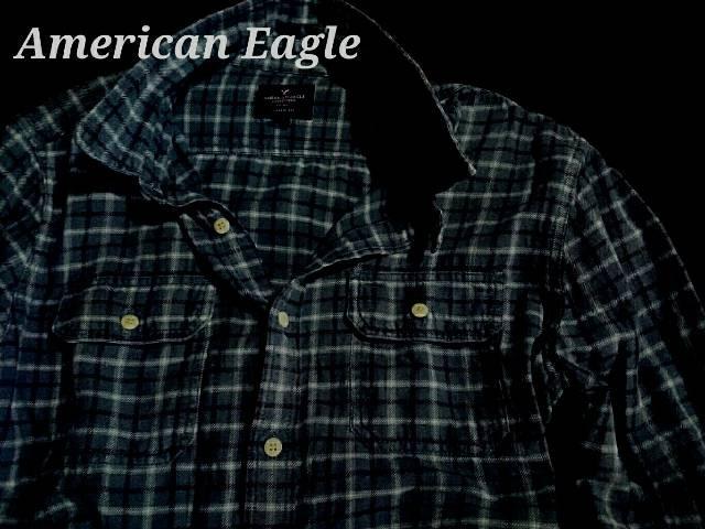 【アメリカンイーグル】Vintage Washed チェック ワークシャツ US−XL(XXL)Blue < ブランドの