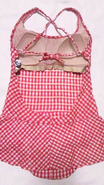 シェパードチェック柄&背中開きクロスキャミソールワンピース水着〓巻きスカート付き風 < 女性ファッションの