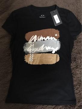ニューヨーク限定●アルマーニ●ロゴ入りTシャツ ラメ●黒