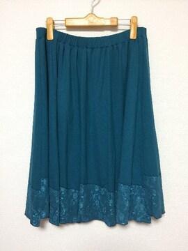 新品:サイズ3L:膝丈フレアースカート、ウエストゴム