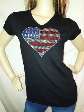 アメリカ 国旗 ハート ストーン Tシャツ 黒