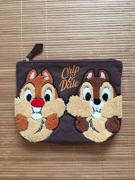 ディズニー・チップ&デールサガラ刺繍ポーチ。