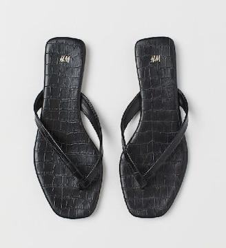 美品 H&M  クロコダイル型押し スクエアトゥ ビーチサンダル 36 黒 ブラック