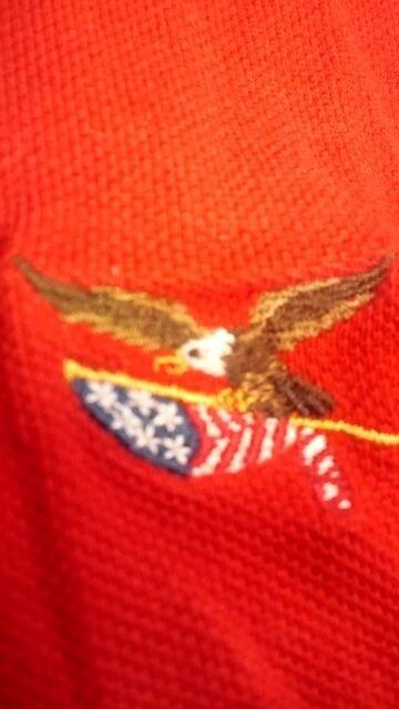 AMERICAN−LIVING 鷲 刺繍 カノコ半袖赤RED サイズXXL→3XL位 < 男性ファッションの