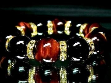 レッドタイガーアイ赤虎目石&オニキス 数珠14ミリ